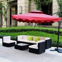U-MAX 7 Piece Patio PE Rattan Wicker Chairs Sofa Sectional Furniture Set