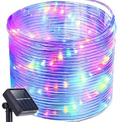 Solar Rope Lights,Oak Leaf 41ft Waterproof 100 LED Outdoor String Lights with PVC Tube Cover,Bla ...