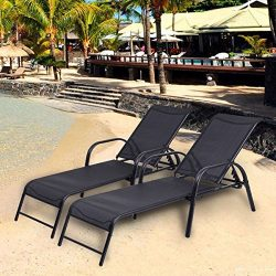 Giantex 2 Pcs Chaise Lounge Chairs W/ Adjustable Back Pool Patio Furniture Sling Chaise Lounges  ...