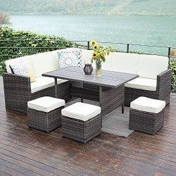 10PCS Patio Sectional Furniture Set,Wisteria Lane Outdoor Conversation Set All-Weather Wicker So ...