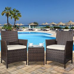 Merax 3 Piece Cushioned Patio PE Rattan Furniture Set Outdoor Garden Wicker Set with Beige Cushi ...