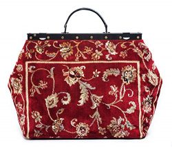 Carpet Bag SAC-VOYAGE Pergola Red – Magical Mary Poppins Vintage-Style Carpet Bag with lea ...