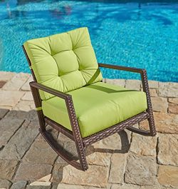 Suncrown Outdoor Furniture Lime Green Patio Rocking Chair | All-Weather Wicker Seat with Thick,  ...