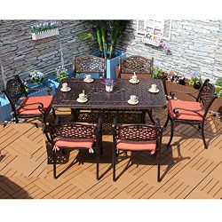 Yongcun Outdoor Patio Furniture Cast Aluminum Dining Set Patio Dining Table Chair Color is Antiq ...