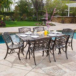 Odena Patio Furniture | 7-piece |Outdoor Dining Set | Cast Aluminum | Rectangular Table | Hammer ...