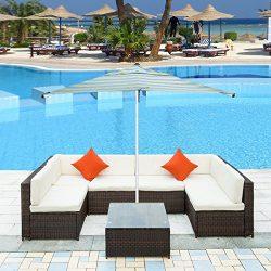 Merax Patio Furniture Set PE Rattan Sectional Garden Furniture Corner Sofa Set (7 Pieces, Brown)