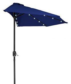 FLAME&SHADE 9′ LED Light Half Round Outdoor Parasol Patio Market Umbrella with Crank L ...
