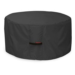 Porch Shield 600D Heavy Duty Patio Round Fire Pit/Table/Bowl Cover, 44″D x 24″H,100% ...