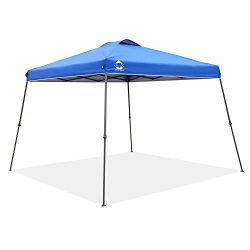 CROWN SHADES 11ft. x 11ft. Slant Leg One Push Up Clia Instant Folding Canopy With Wheeled Bag, Blue