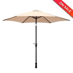 LCH 9 Ft Outdoor Market Table Umbrella Aluminum Patio Umbrella with Durable Push Button Tilt and ...