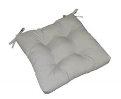 Indoor / Outdoor Solid Dove Gray / Grey Universal Tufted Seat Cushion with Ties for Dining Patio ...