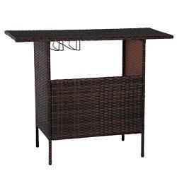 Esright 46in Outdoors Patio Wicker Gardens Shelves Bar Counter Table (Brwon)