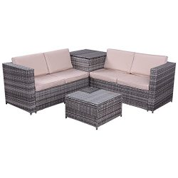 Tangkula 4 PCS Patio Conversation Set Outdoor Poolside Balcony All Weather Wicker Sectional Sofa ...