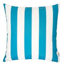 Homey Cozy Outdoor Throw Pillow Cover, Classic Stripe Aqua Blue Large Pillow Cushion Water/UV Fa ...