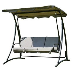 Tangkula 3 Person Patio Swing Outdoor Steel Swing Chair (Gray)