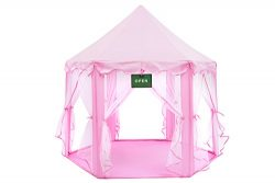 Play Kreative Pink Princess CASTLE GAZEBO TENT with carry Case. Girls Pink Fairy Playhouse with  ...
