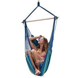 Y- stop Hanging Rope Hammock Chair Porch Swing Seat Quality Cotton Weave for Superior Comfort &a ...