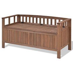 70 Gallon 2-in-1 Indoor/Outdoor Patio Garden Bench Storage Deck Box (Dark Brown)