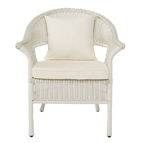 Brylanehome Roma All Weather Wicker Stacking Chair White