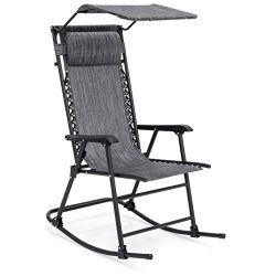 Best Choice Products Foldable Zero Gravity Rocking Patio Recliner Chair w/ Sunshade Canopy &#821 ...