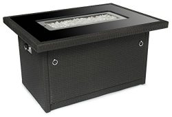 Outland Fire Table, Aluminum Frame Propane Fire Pit Table w/Black Tempered Glass Tabletop Resin  ...