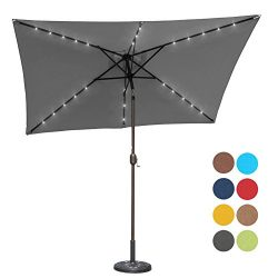 Sundale Outdoor Rectangular Solar Powered 26 LED Lighted Patio Umbrella Table Market Umbrella wi ...