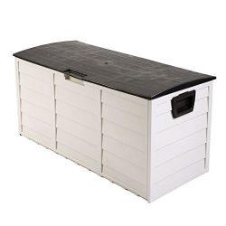 LAZYMOON Outdoor Deck Box Storage Bench Garden Patio Backyard Tool Equipment Container Utility,  ...