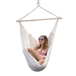Y-STOP Hanging Rope Hammock Chair Porch Swing Seat Quality Cotton Weave for Superior Comfort &am ...