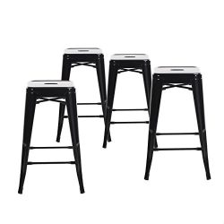 Buschman Set of Four Black 24 Inches Counter Height Tolix-Style Metal Bar Stools, Indoor/Outdoor ...