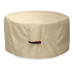 Porch Shield 600D Heavy Duty Patio Round Fire Pit/Table/Bowl Cover, 40″D x 20″H, 100 ...