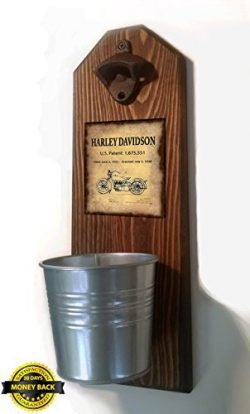 Harley Davidson Patent Bottle Opener and Cap Catcher. Handmade by a Vet. Made of solid pine, rus ...