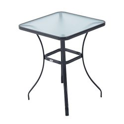 Outsunny 34″ Outdoor Glass Top Bistro Table – Black