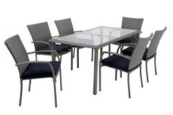 Cosco 88597GBLE Outdoor Living Patio Dining Set, Gray