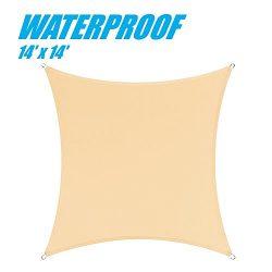 ColourTree 100% BLOCKAGE Waterproof 14′ x 14′ Sun Shade Sail Canopy Square –  ...