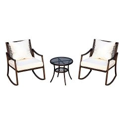 Outsunny 3 Piece Outdoor Outdoor PE Rattan Wicker Patio Rocking Chair Set with Accent Table R ...