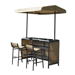 Outsunny 3 Piece Outdoor Mesh Cloth Canopy Bar Set – Table & Two Chairs