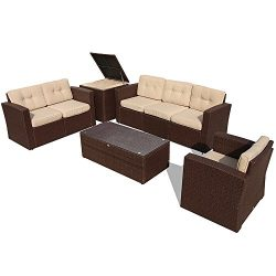 PATIOROMA Outdoor Furniture Sectional Sofa Set (8-Piece Set) All-Weather Brown Wicker with Beige ...