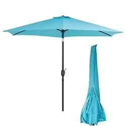 Sunnyline Patio Umbrella with Cover 10 Ft Outdoor Market Table Aluminum Umbrella with Push Butto ...