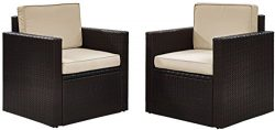 Crosley Furniture Palm Harbor 2-Piece Outdoor Wicker Conversation Set with Sand Cushions – ...