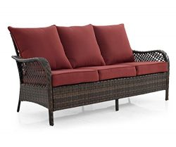 Ulax 3 Seater Seating Outdoor Wicker Patio Sofa with Cushions Brown Wicker Couch