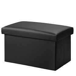 Foldable Leather Storage Ottoman Bench Footrest Stool, Coffee Table Cube For Home, Office, Garde ...