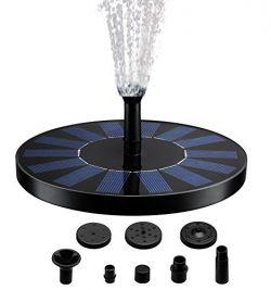 Solar Fountain Pump, Free Standing 1.4W Bird Bath Fountain Pump for Garden and Patio, Solar Pane ...