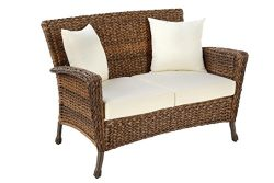 W Unlimited Rustic Collection Outdoor Furniture Light Brown Rattan Wicker Loveseat Sofa 2 Seater ...