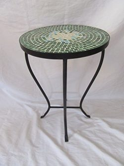 Green Mosaic Black Iron Outdoor Accent Table 21″H