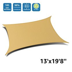 "DOEWORKS Rectangle 13′ X 19'8"" Sun Shade Sail, UV Block for Outdoor Patio Gard ..."