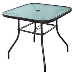 Quality Patio Square Bar Dining Table Glass Deck Outdoor Furniture Garden Pool Yard With Hole in ...