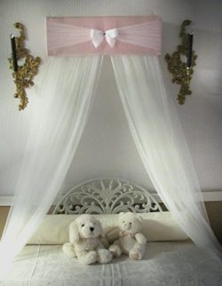 Bedroom Girls Bed Crib Canopy Rose Pink Ivory tulle netting with WHITE sheer curtains by So Zoey ...