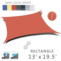 LOVE STORY 13′ x 19.5′ Rectangle Orange Red Waterproof Sun Shade Sail Perfect for Ou ...