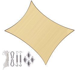 Sunlax 10′ x 13′ Sand Color Rectangle UV Block Sun Shade Sail Canopy with Stainless  ...