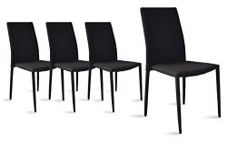 Dining Room Chairs Set of 4, Fabric Chair for Living Room 4 Pieces (Black)